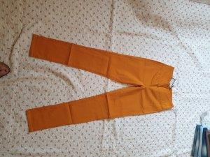 Pieces Hoge taille broek oranje Gemengd weefsel