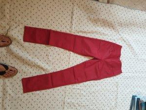 Pieces Hoge taille broek rood Gemengd weefsel