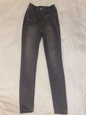 Missguided Pantalone a vita alta grigio-grigio chiaro