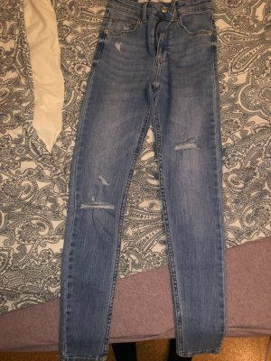 Bershka Jeans taille haute bleu azur