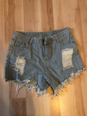 SheIn Short en jean bleu clair-blanc