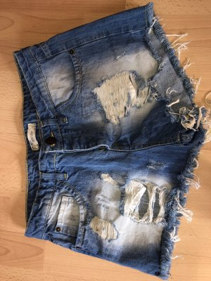 Highwaist kurz neu zerissen destroyed dark wash