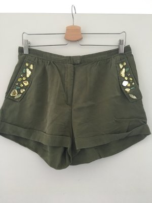 H&M Conscious Collection High-Waist-Shorts forest green-lime-green