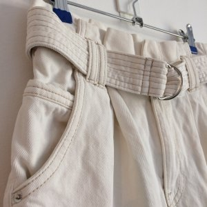 Bershka High-Waist-Shorts natural white cotton