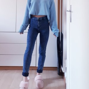 American Apparel Hoge taille jeans blauw-donkerblauw