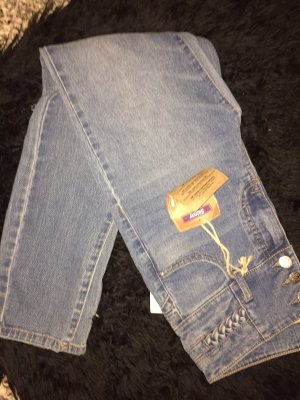 Hoge taille jeans staalblauw-azuur
