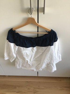 Hilfiger Carmen blouse wit-donkerblauw