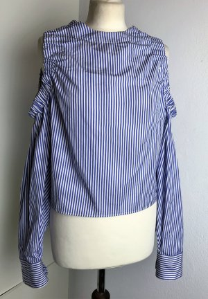 * HILFIGER COLLECTION * Bluse Schulter cut out  Rücken Schleife  blau weiß gestreift Gr US 4 XS