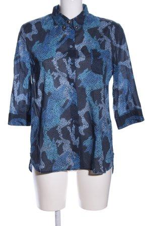 Hilfiger Collection Langarm-Bluse blau-schwarz Allover-Druck Casual-Look