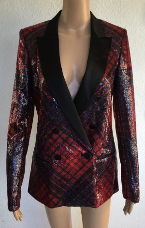 Hilfiger Collection, Pailletten-Blazer, Tartan, rot-blau-schwarz, 34 (US 4), neu, € 600,-