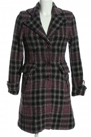 Hilfiger Denim Heavy Pea Coat black-pink check pattern business style