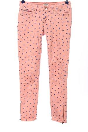 Hilfiger Denim Spodnie z pięcioma kieszeniami różowy-niebieski Wzór w kropki