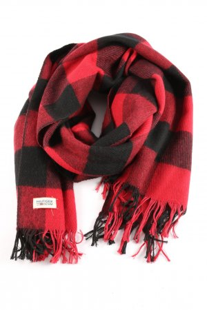 Hilfiger Denim Fringed Scarf red-black check pattern casual look
