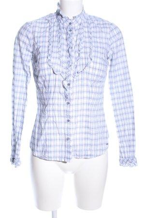 Hilfiger Denim Hemd-Bluse weiß-blau Karomuster Casual-Look