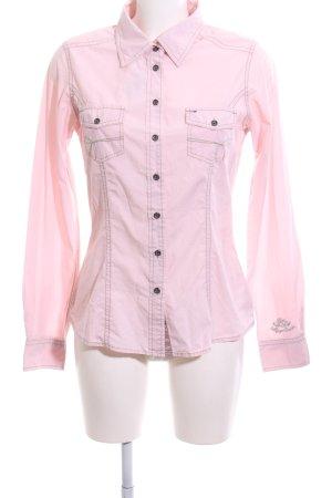Hilfiger Denim Hemd-Bluse pink-hellgrau Schriftzug gestickt Casual-Look
