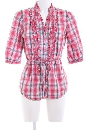 Hilfiger Denim Hemd-Bluse rot-weiß Karomuster Casual-Look