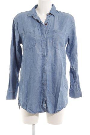 Hilfiger Denim Hemd-Bluse stahlblau Casual-Look