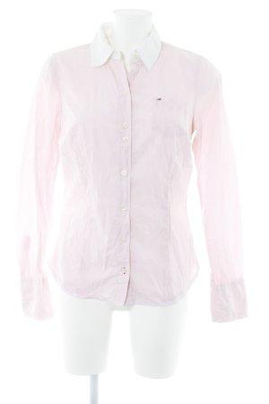 Hilfiger Denim Hemd-Bluse weiß-rosé Streifenmuster Business-Look