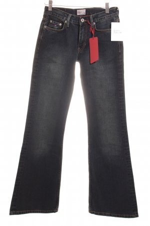Hilfiger Denim Jeansschlaghose dunkelblau Logo-Applikation aus Leder