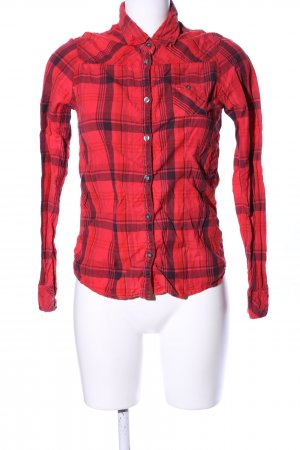 Hilfiger Denim Karobluse rot-schwarz Karomuster Business-Look