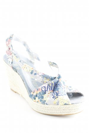 Hilfiger Denim Wedge Pumps flower pattern Bast elements