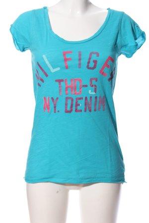 Hilfiger Denim Kurzarm-Bluse blau-pink Schriftzug gedruckt Casual-Look