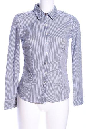 Hilfiger Denim Langarm-Bluse hellgrau-weiß Streifenmuster Business-Look