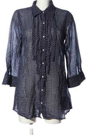 Hilfiger Denim Langarmhemd blau-weiß Karomuster Casual-Look