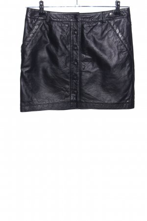 Hilfiger Denim Leather Skirt black quilting pattern casual look