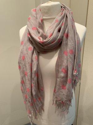 Hilfiger Denim Fringed Scarf grey brown-pink cotton