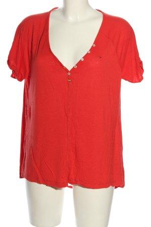 Hilfiger Denim Oversized Shirt rot Schriftzug gestickt Casual-Look