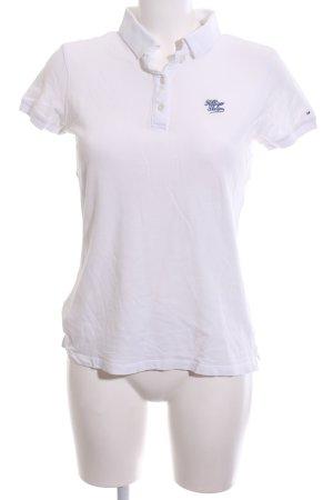 Hilfiger Denim Polo-Shirt weiß-blau Schriftzug gestickt Casual-Look