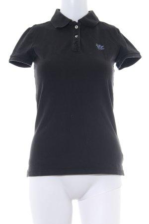 Hilfiger Denim Polo-Shirt schwarz Schriftzug gestickt Casual-Look