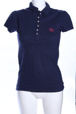 Hilfiger Denim Polo-Shirt blau-pink Schriftzug gedruckt Casual-Look