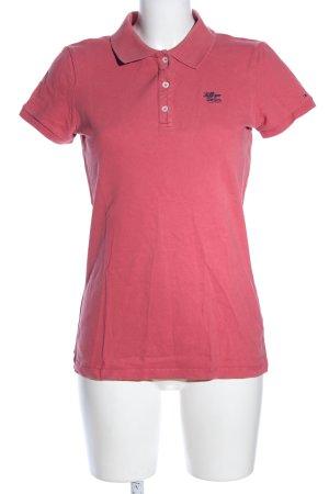 Hilfiger Denim Polo-Shirt pink Schriftzug gestickt Casual-Look
