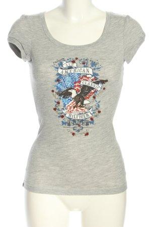 Hilfiger Denim Print-Shirt hellgrau meliert Casual-Look