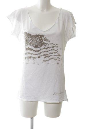 Hilfiger Denim Print-Shirt weiß-hellgrau Motivdruck Casual-Look