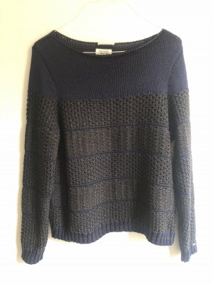 Hilfiger Denim Crochet Sweater dark blue-grey brown