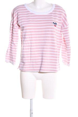 Hilfiger Denim Rundhalspullover pink-weiß Streifenmuster Business-Look