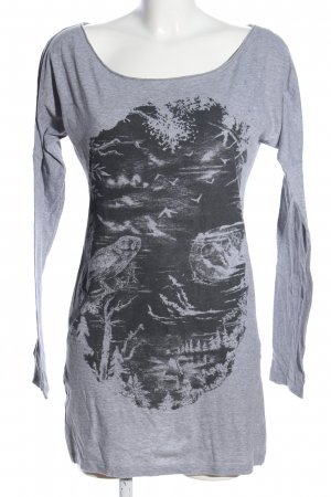 Hilfiger Denim Shirtkleid hellgrau-schwarz Motivdruck Casual-Look