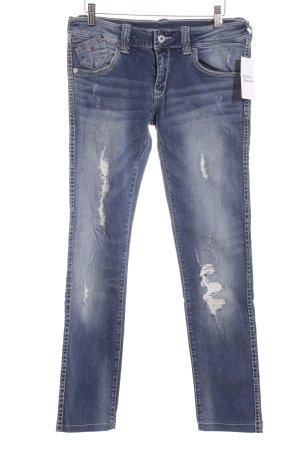 Hilfiger Denim Slim Jeans dunkelblau-wollweiß Logo-Applikation aus Leder