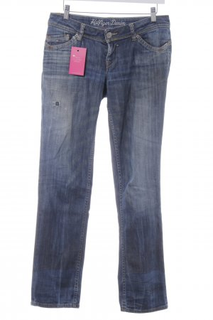 Hilfiger Denim Straight-Leg Jeans blau Logo-Applikation aus Leder