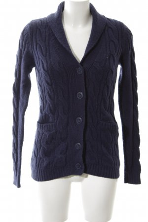 Hilfiger Denim Strick Cardigan blau Zopfmuster Casual-Look
