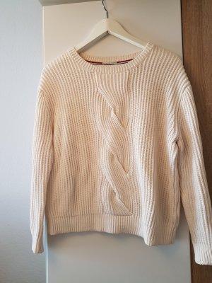 Hilfiger Denim Strick Pullover Creme Weiß Baumwolle
