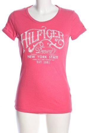 Hilfiger Denim T-Shirt pink-wollweiß Schriftzug gedruckt Casual-Look
