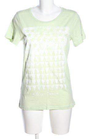 Hilfiger Denim T-Shirt grün-weiß grafisches Muster Casual-Look