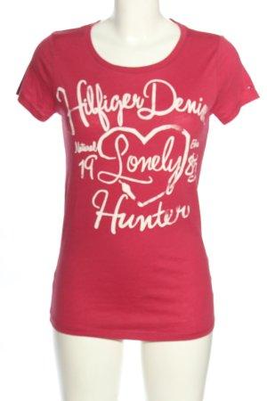 Hilfiger Denim T-Shirt pink-weiß Schriftzug gedruckt Casual-Look