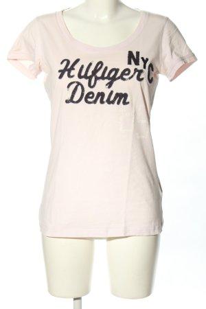 Hilfiger Denim T-Shirt pink Schriftzug gestickt Casual-Look