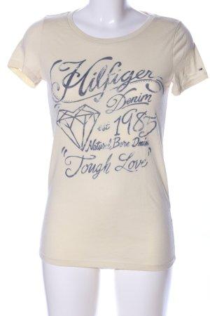 Hilfiger Denim T-Shirt wollweiß-blau Schriftzug gedruckt Casual-Look