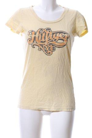 Hilfiger Denim T-Shirt blassgelb-hellorange Schriftzug gedruckt Casual-Look